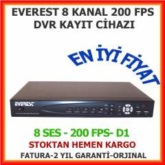 EVEREST HV-908 8 KANAL 200 FPS DVR KAYIT C�HAZI