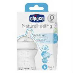 Chicco Natural Feeling Sil. Emz Bib. 150ml 0m+