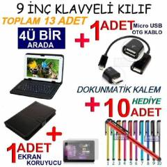 9 in� TABLET KILIF Klavyeli KILIF Deri Stand SET