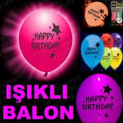 5 ADET LED I�IKLI BALON HAPPY BIRTHDAY BASKILI