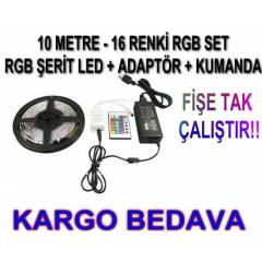 10MT 16 RENKL� SET-RGB �ER�T LED+ADAPT�R+KUMANDA