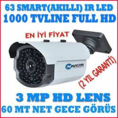 1/3 SONY CCD 1000 TVL�NE 63 SMART LED HD G�R�NT�