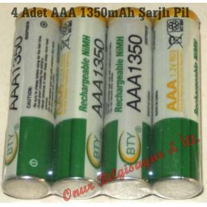 Ni-MH BTY AAA 1350 mAh �arjl� ince Pil 4 Adet
