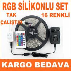 SİLİKONLU SET 5 MT RGB ŞERİT LED+ADAPTÖR+KUMANDA