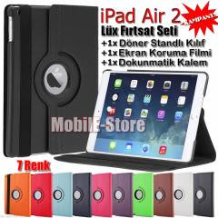 Apple iPad Air 2 D�ner Standl� K�l�f+Film+Kalem