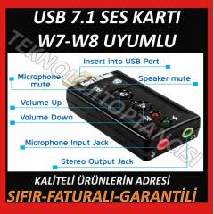 7.1 USB Ses Kartı Virtual Sound 3D - Win 7 Win 8