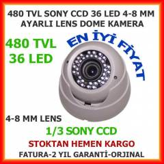 GÜVENLİK KAMERASI 480 TVL 36 LED 4-8 MM LENS