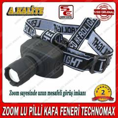 ZOOM LU PİLLİ KAFA FENERİ TECHNOMAX