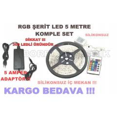 5 MT RGB ŞERİT LED SET SİLİKONSUZ + 5 AMPER ADAP