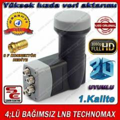 4;LÜ BAĞIMSIZ LNB GOLD TECHNOMAX FULL HD + 3D