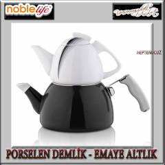 NOBLE LİFE PORSELEN - EMAYE ÇAYDANLIK SET BLACK