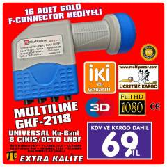 MULTİLİNE 8 Lİ LNB  PERFORMANS LNB HD-3D UYUMLU
