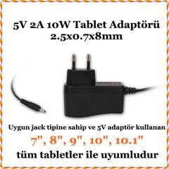 Artes 5V 2A 2.5x0.8x7mm Tablet Adaptör