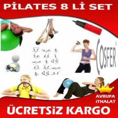 8 Lİ PİLATES SETİ ÇEMBER EL YAYI BANT TOP CD GYM