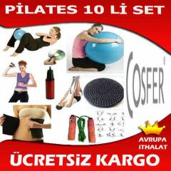 10 LU PİLATES SETİ TOP  EL YAYI TWİSTER KEMER İP