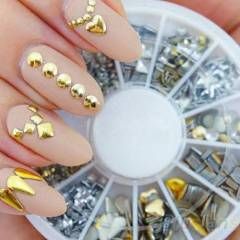 TIRNAK SUSLEME METAL SET NAIL ART GOLD SILVER