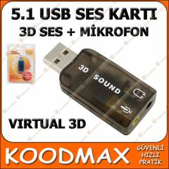 5+1 USB SES KARTI LAPTOP BİLGİSAYAR PC SOUND 3D