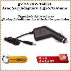 Artes 5V 2A 2.5x0.7x10mm Tablet Araç Şarj Adaptö