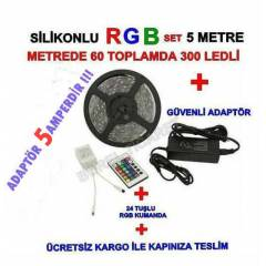 RGB ŞERİT LED SİLİKONLU 5 MT SET + 5 AH PLS.ADPT