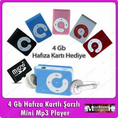 4 GB HAFIZA KARTLI MİNİ MP3 PLAYER