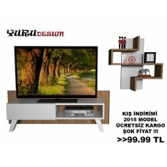 Yurudesign Jerry Led Tv Ünite Sehpa Kitaplık Raf