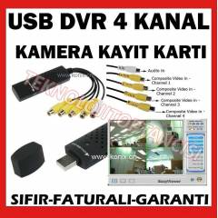 4 KANAL LAPTOP PC USB DVR KART KAMERA