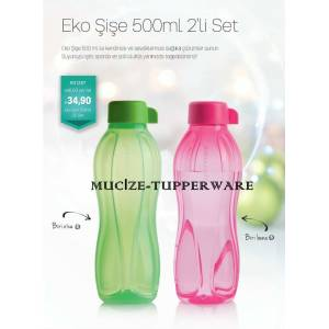 Tupperware Eko �i�e 500 ml Pembe ve Ye�il renk