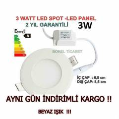 3 WATT LED SPOT - SLİM LED PANEL 3W BEYAZ IŞIK