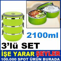 3'l� SET 1400ml ISI KORUMALI YEMEK TERMOSU SET�