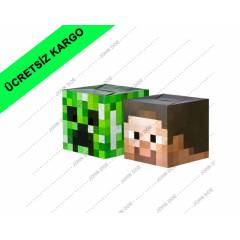 Minecraft Parti Paketi. 24 Adet Steve ve Creeper