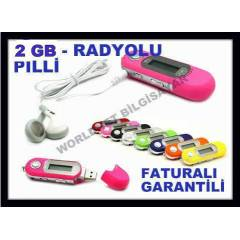 2 GB MP3 ÇALAR MP3 PLAYER RADYOLU PİLLİ EKRANLI