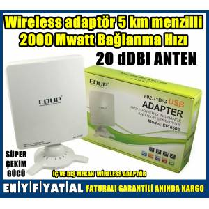 Wireless adapt�r 5 km menzil 2000 Mwatt Ba�lanma