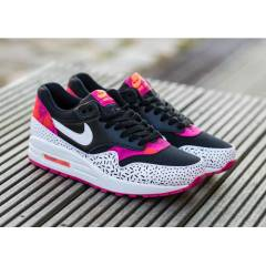 NIKE AIR MAX 1 Pink White and Black Print wmns