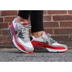 NIKE AIR MAX 90 GREY-RED-WHT WMNS SHOES