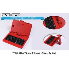 7'' TABLET PC KLAVYELİ KILIF KIRMIZI MİNİ USB