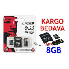 KINGSTON 8GB MICROSDHC HAFIZA KARTI + 2 AKSESUAR