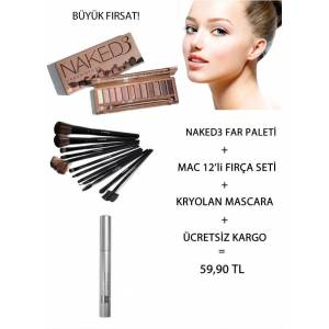 NAKED3 PALET+MAC 12'L� FIR�A SET�+KRYOLAN R�MEL