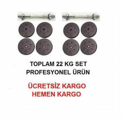 22 KG PLASTİK VİNLY DAMBIL SET AĞIRLIK DEMİR BAR