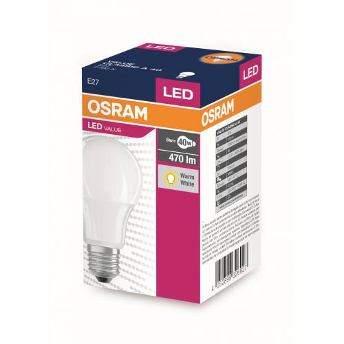OSRAM LED VALUE KLASİK A 40 6W SARI IŞIK E27