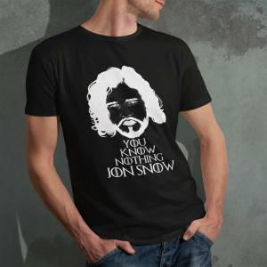 Game of Thrones You Know Nothing, Jon Snow Silüet Baskılı Erkek Tshirt