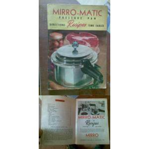 MIRRO-MATIC PRESSURE PAN DIRECTIONS RECIPES 1954