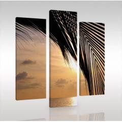 SUNSET BEACH 3 Par�al� Canvas Tablo