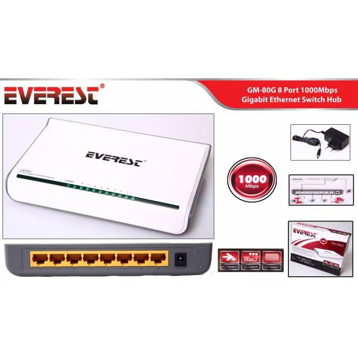 Everest GM-80G 1000Mbps Gigabit Ethernet Switch