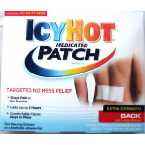 Icy Hot Medicated Patches feature pain relieving ointment on breathable adh