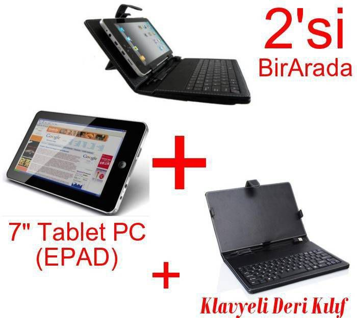 "7"" Tablet PC Android 2.3 Wi-Fi 3G + Deri Klavye"