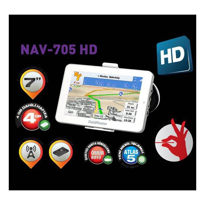 "GOLDMASTER NAV-705 NAV�GASYON 7""inc 4GB"