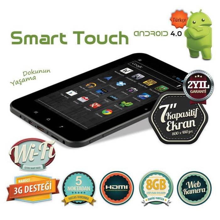 "EZCOOL 7"" 8 GB Tablet PC + 4 GB Micro SD Kart"