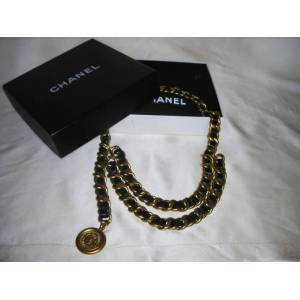 CHANEL KEMER - VINTAGE-GOLD CHAINED LEATHER BELT