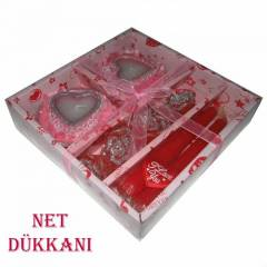 SEVG�L�YE PEMBE KIRMIZI MUM SET� - I LOVE YOU