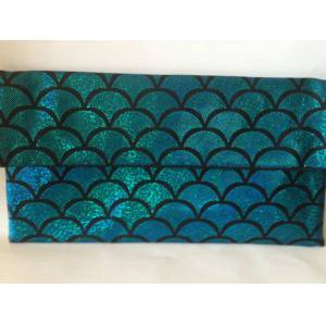 TURKUAZ MERMAID PIRILTILI Z�NC�RL�  CLUTCH �ANTA